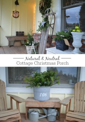 Create a Natural and Neutral Christmas Porch with decor from your yard, lights, ornaments and burlap ribbon.