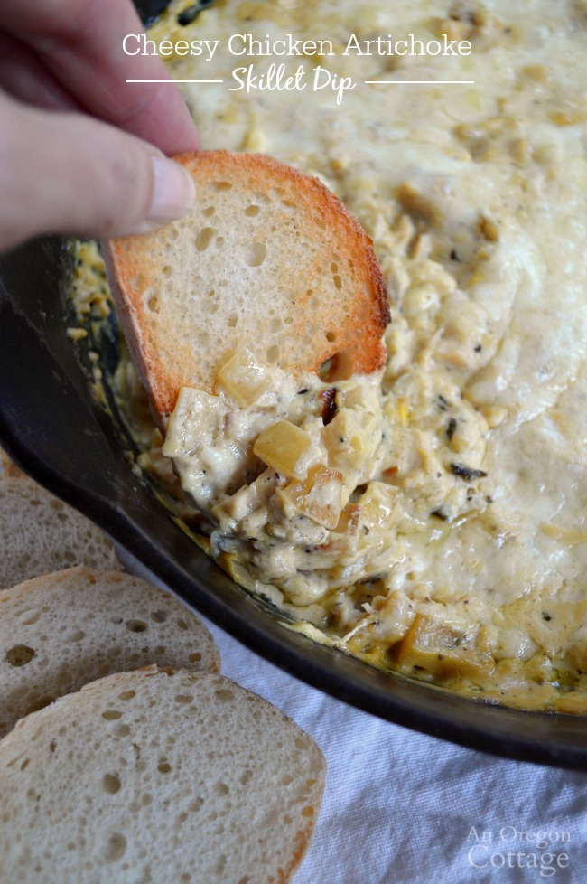 Take a few minutes to make Cheesy Chicken Artichoke Skillet Dip tonight and watch it disappear!