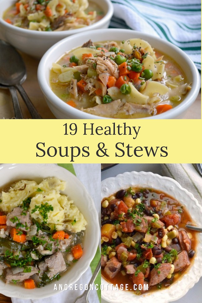 healthy soups and stews pin image