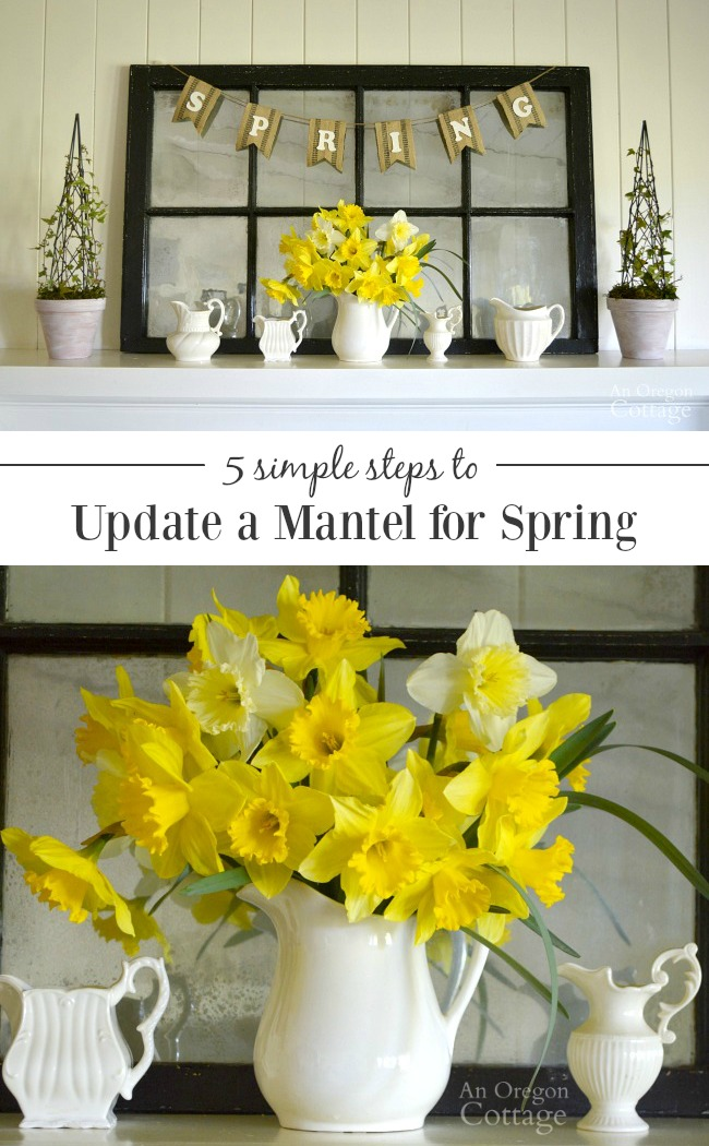 Daffodils in white pitchers on mantel