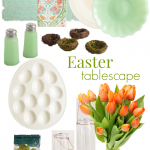 Create a sophisticated Easter/Spring table with white, aqua, green, and orange World Market finds. Fresh orange-hued tulips bring the table together.