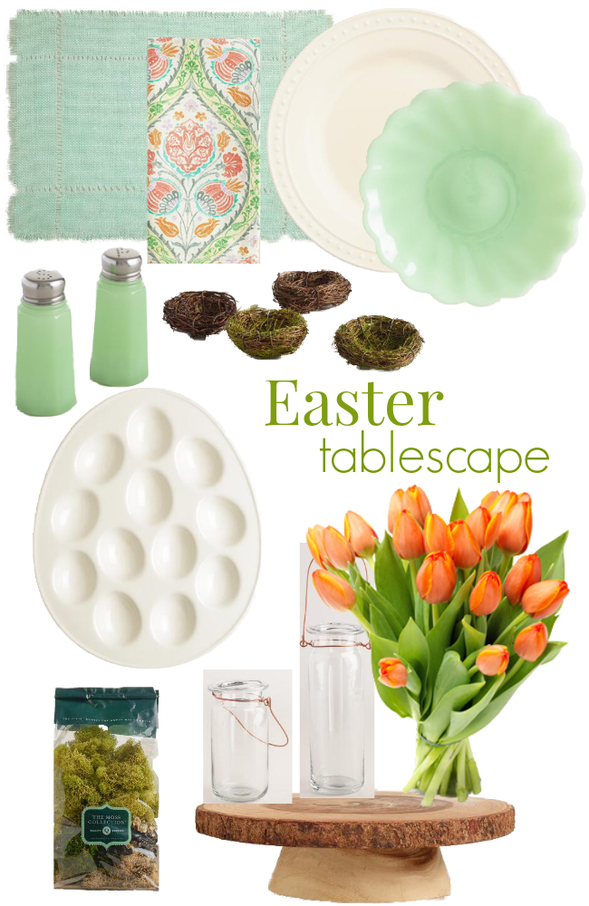 Create a sophisticated Easter table with white, aqua, green, coral and nature inspired World Market finds. Fresh coral-hued tulips bring the table together.