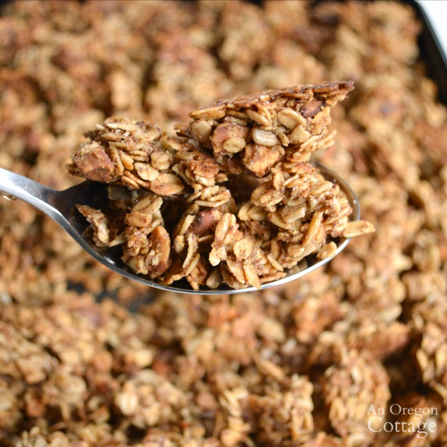 Maple-Honey Granola- a quick and easy granola recipe that uses less sugar and creates fantastic clusters.