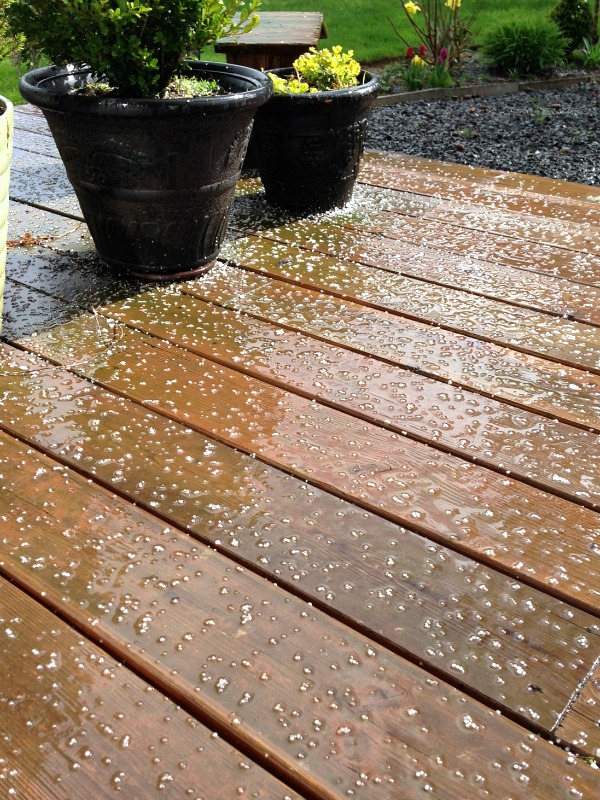 March hail and sunshine on the deck