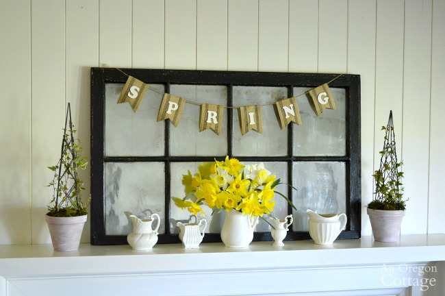 Simple White Pitcher Spring mantel and decorating tips