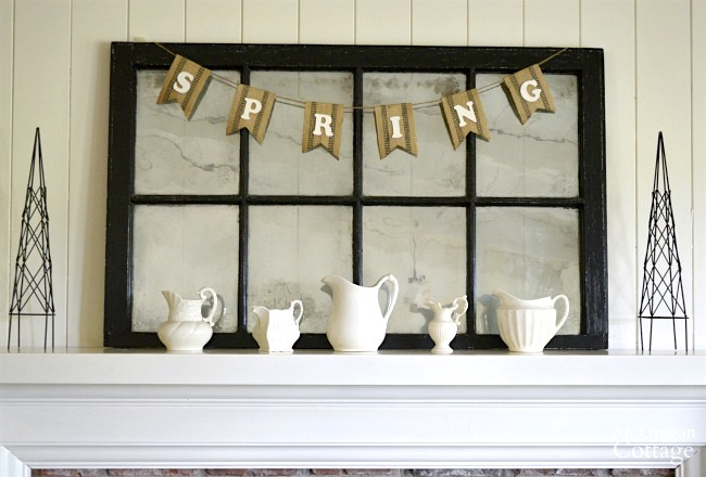 White Pitcher Spring Mantel-decorating steps 1-3
