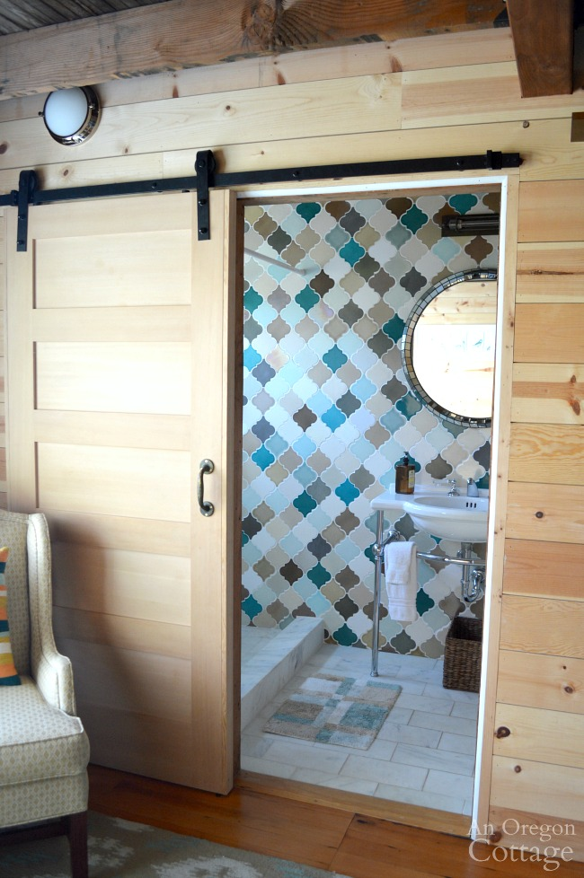 The Reed House Master Bath with barn door