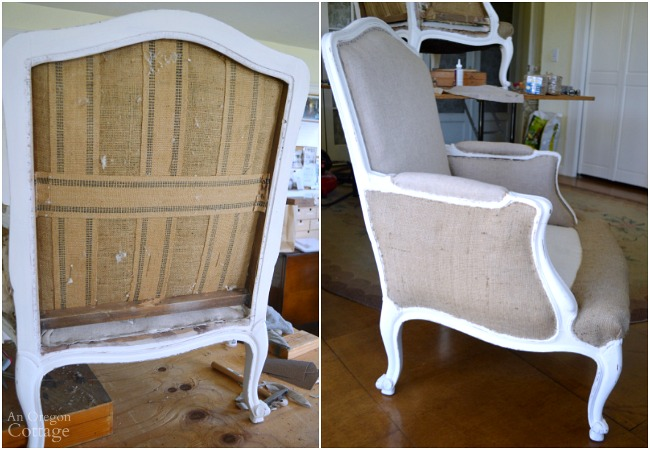 1970s French Chair Makeover-upholstering burlap sections