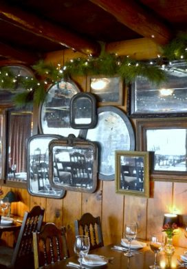 Captain Whidbey Inn mirror idea- overlap vintage mirrors to reflect light.
