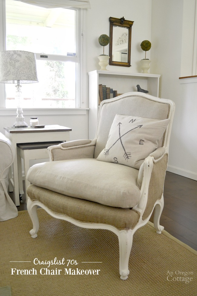 DIY Upholstered French Chairs-see how these 1970s $25 Craigslist chairs were brought into the new century using basic DIY skills