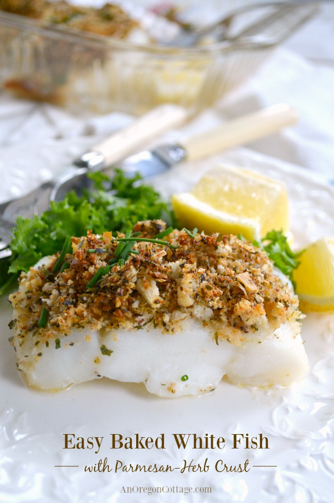 Baked white fish with parmesan herb crust ready in 20 for Easy fish recipes for dinner