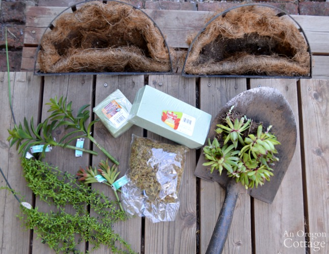 Quick Garden Shed Makeover Sedum Basket Supplies