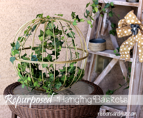 Upcycled garden: Repurposed Hanging Baskets Decor