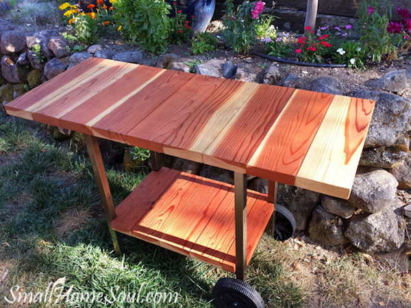 Upcycled garden: Grill Frame to Patio-Cart
