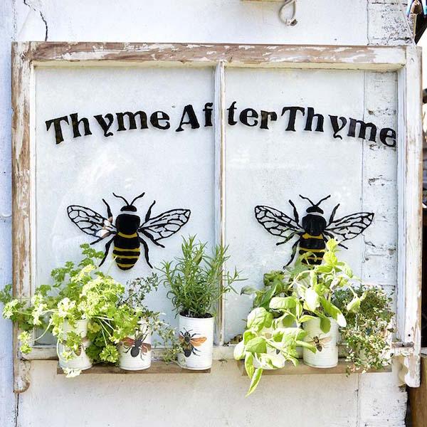Upcycled garden vintage window herb planter