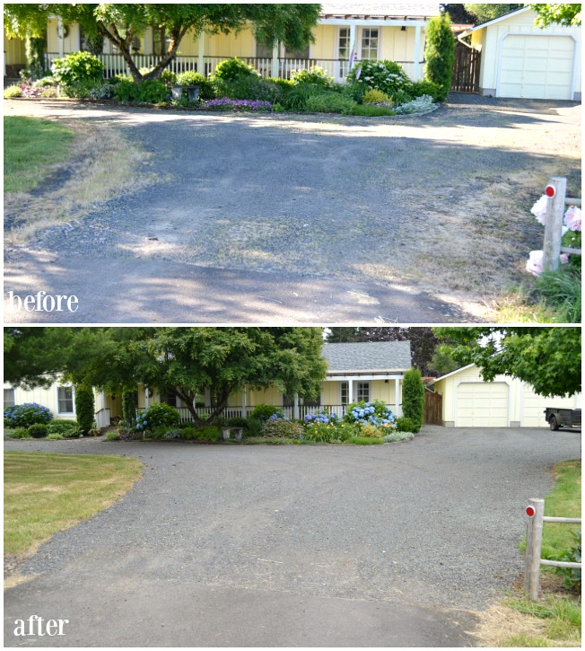 Gravel driveway refresh before and after