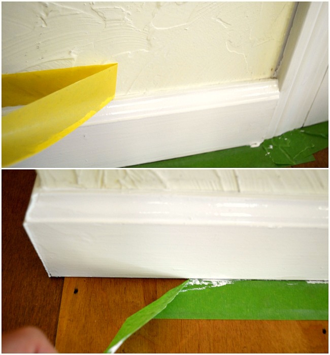 Painting Baseboards-removing tape from baseboard