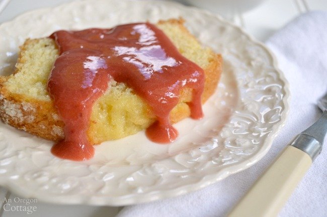 3 Ingredient Rhubarb Strawberry Sauce on lemon pound cake