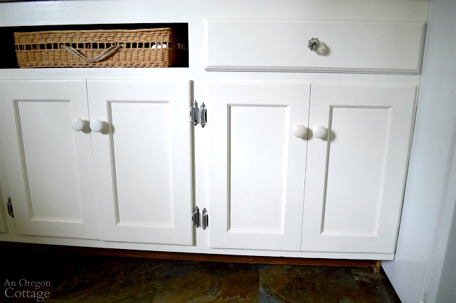 Mudroom Makeover after-upcycled cabinet faux double door