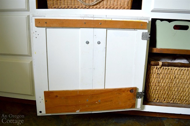Mudroom Makeover after-cabinet faux double door