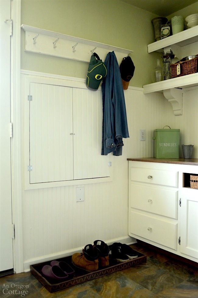 Mudroom Makeover-beadboard electrical panel cover after