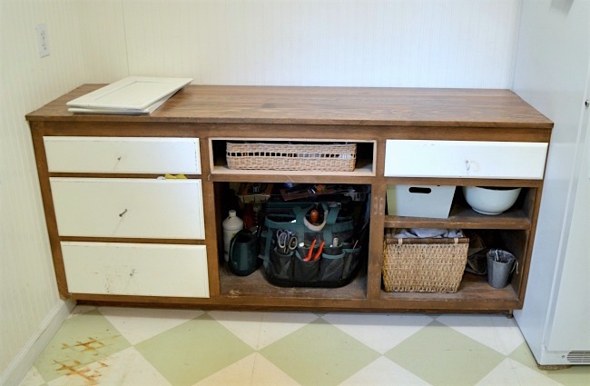 Mudroom Makeover-upcycled cabinet before