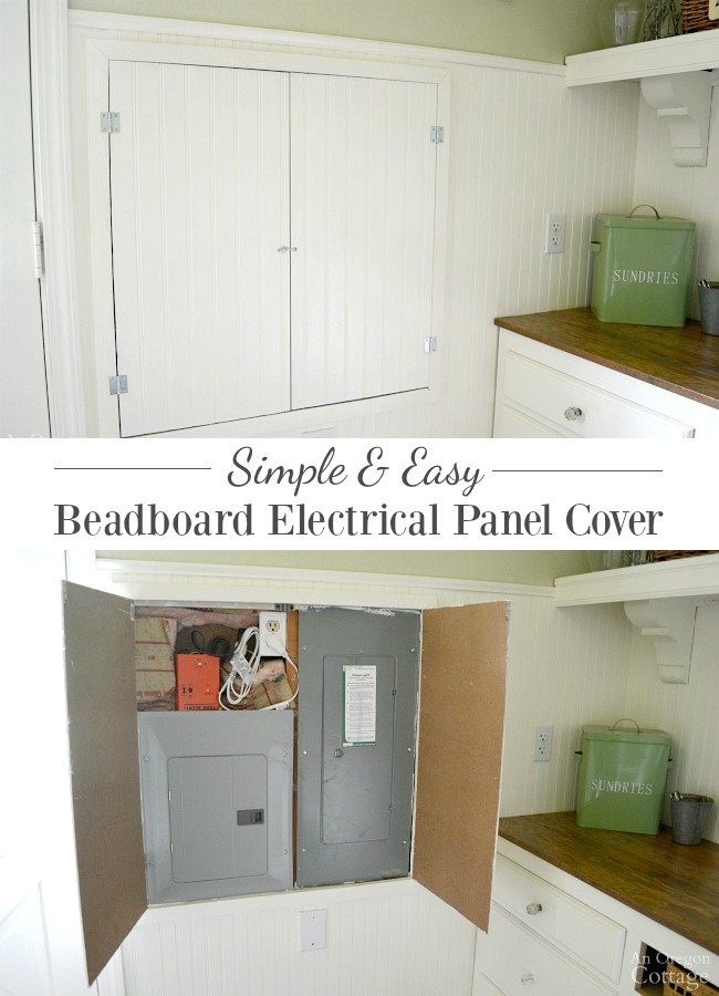 Simple and easy DIY to cover exposed electrical panels in remodeled rooms.