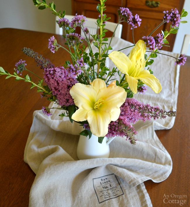 Simple garden flower arrangement