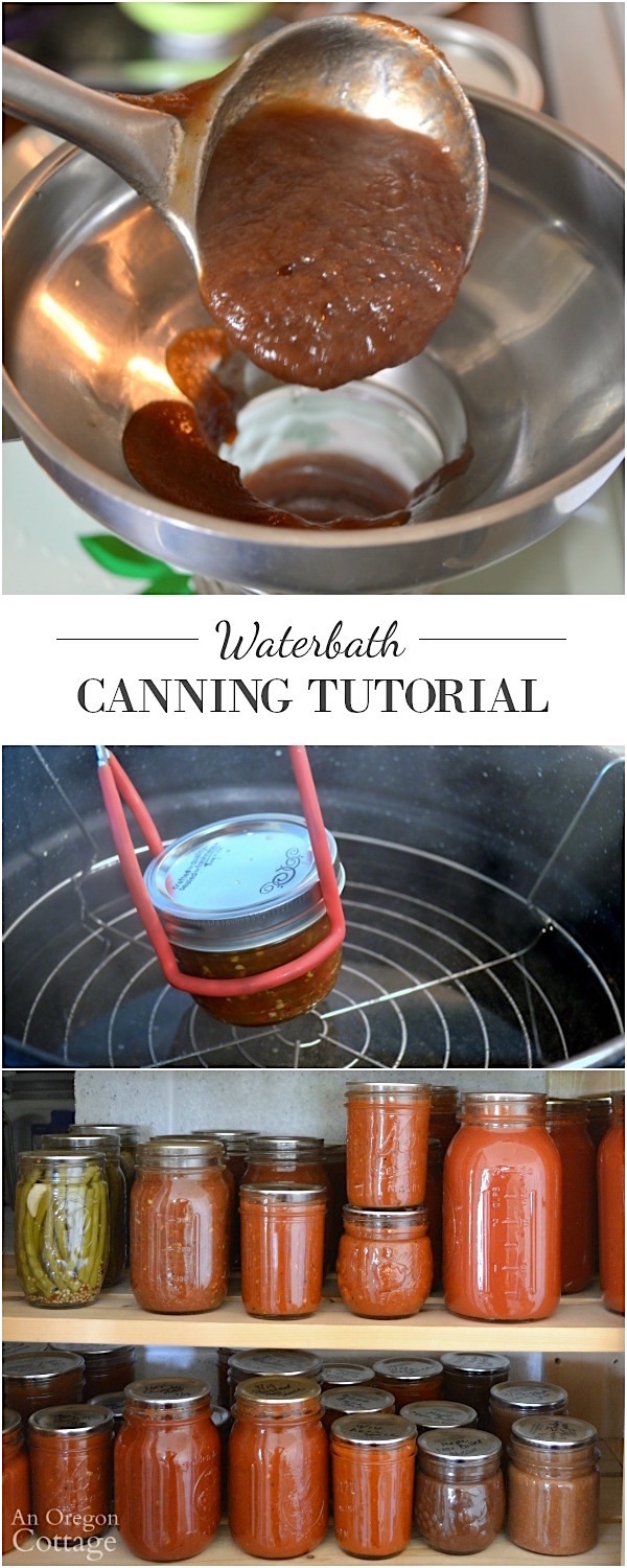 Water bath canning tutorial pin image