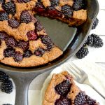 Whole Wheat Skillet Blackberry Cobbler- APour-in-Pan, 10-minute prep, healthy dessert to showcase seasonal berries.