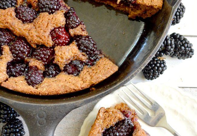 Whole Wheat Skillet Blackberry Cobbler- APour-in-Pan, 10-minute prep, healthy dessert to showcase seasonal berries.