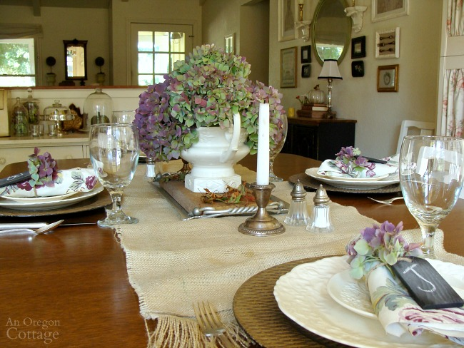 Rustic Hydrangea Fall Table with touches of purple