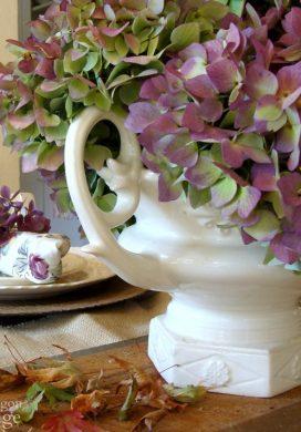 Purple Hydrangea Fall Table Centerpiece