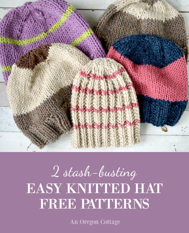 2 stash busting easy knitted hat patterns | An Oregon Cottage