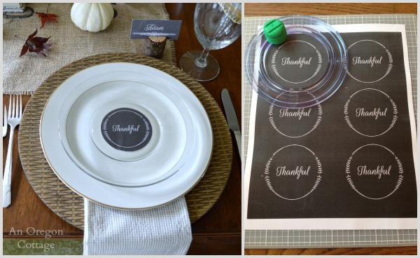 Chalkboard round Thankful tag printables