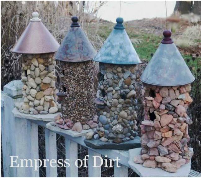 diy stone-birdhouses