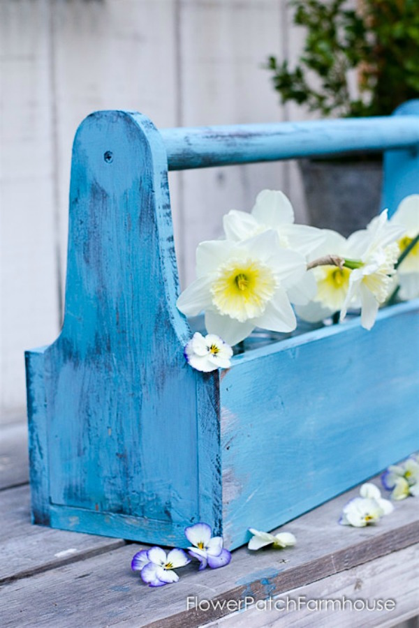 Handmade Gift Idea #23-Rustic DIY Wood Toolbox via Flower Patch Farmhouse at AnOregonCottage.com