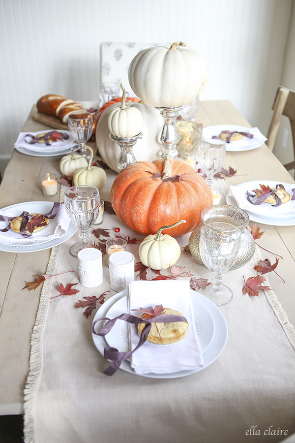 Pumpkins-mercury glass Thanksgiving tablescape via Ella Clair