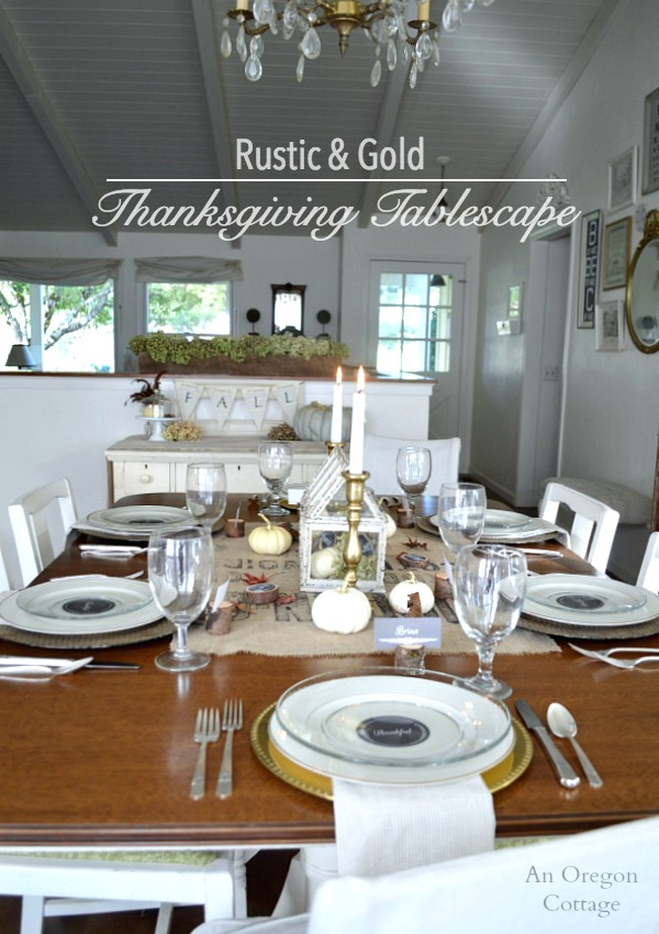 Rustic and Gold Thanksgiving Table