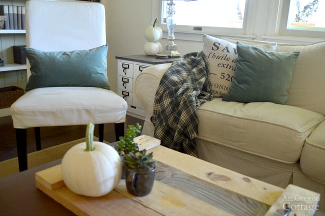 Simple Fall Decor-Moss Green-White Pumpkins