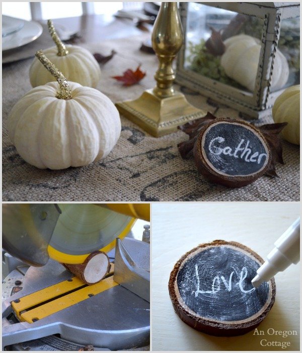 Wood slice word decor for Thanksgiving table