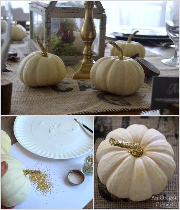 Glittered pumpkin stems for Thanksgiving table