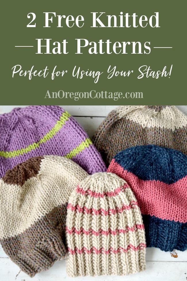 Free knit hat patterns pin image