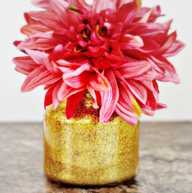 upcycled glitter vase with dahlia