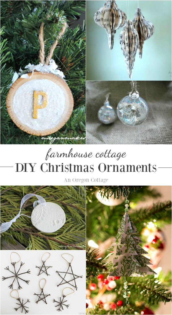 Easy and unique DIY Christmas ornaments with a farmhouse cottage style for trees, decor, packages and gifts. Make a tradition of creating a new ornament each year to add a personal touch to your collection.