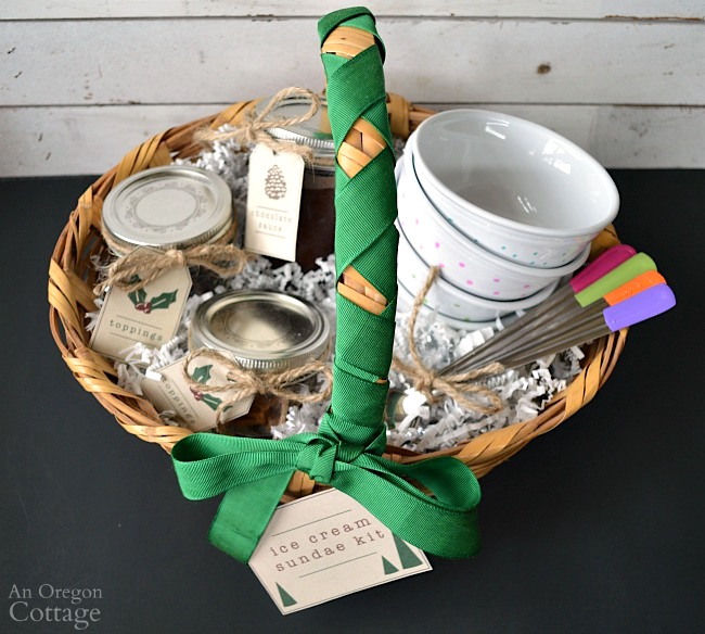 Gift Basket Ideas- ice cream sundae basket handmade gift