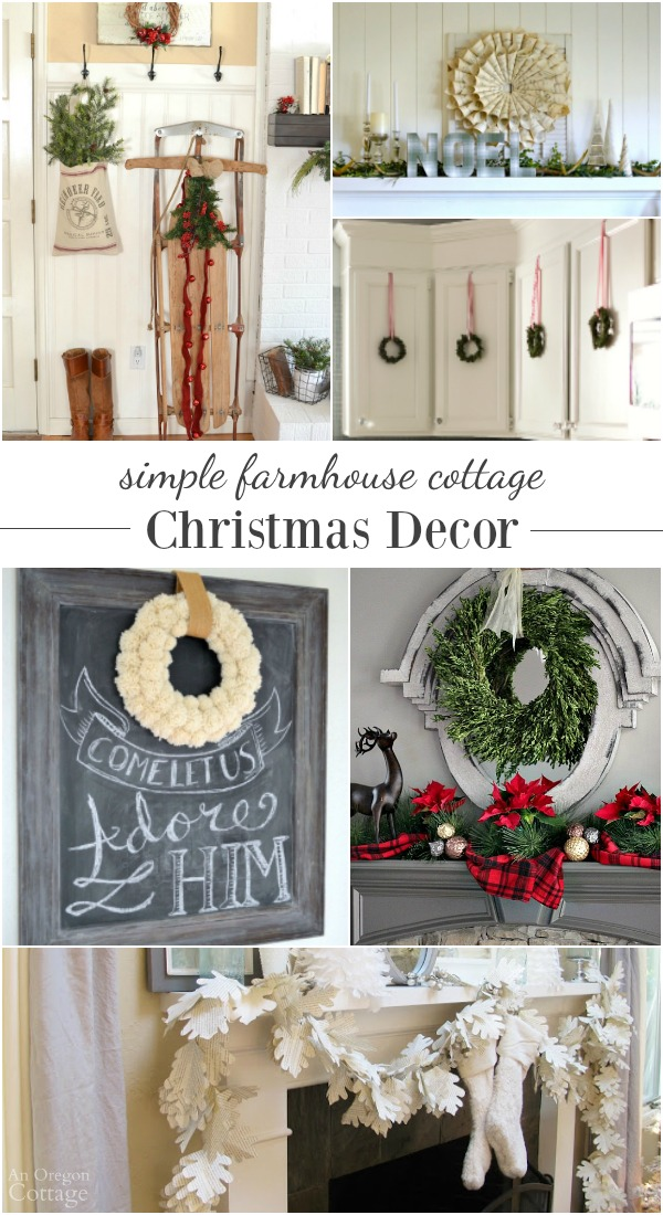 diy projects and room tours for inspiration to help create a clean and simple farmhouse cottage christmas decorating ideas dont
