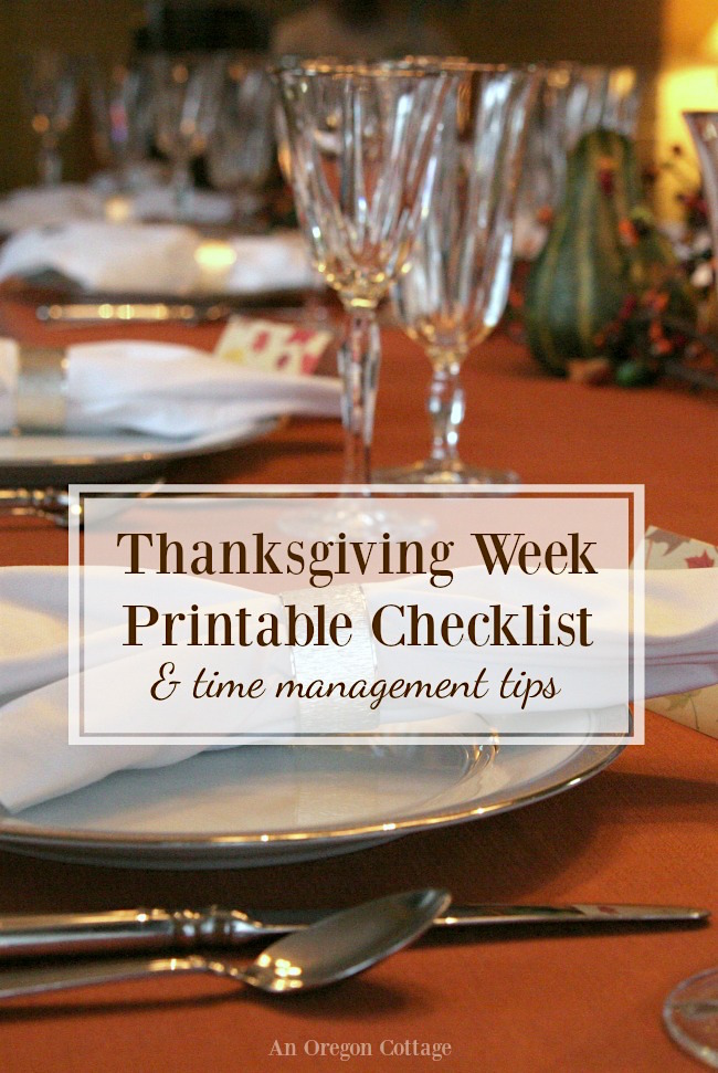 Thanksgiving week checklist printable and time management tips to help keep you on schedule and even get ahead!