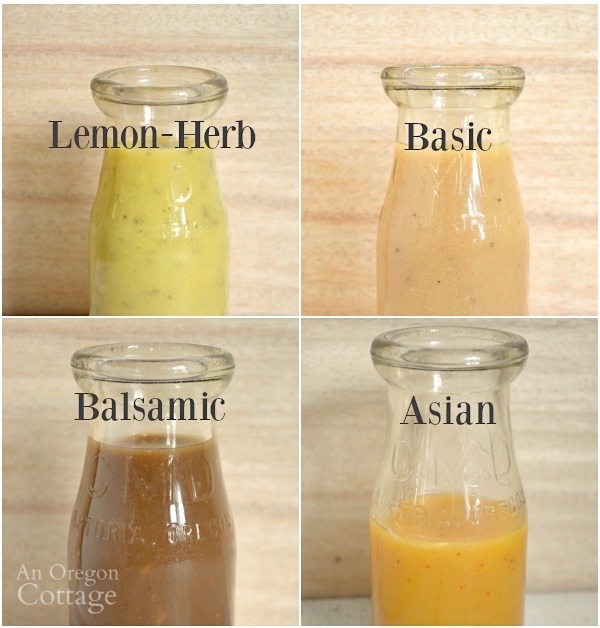 Homemade salad dressings-4 Vinaigrette Salad Dressings from 1 Basic Recipe