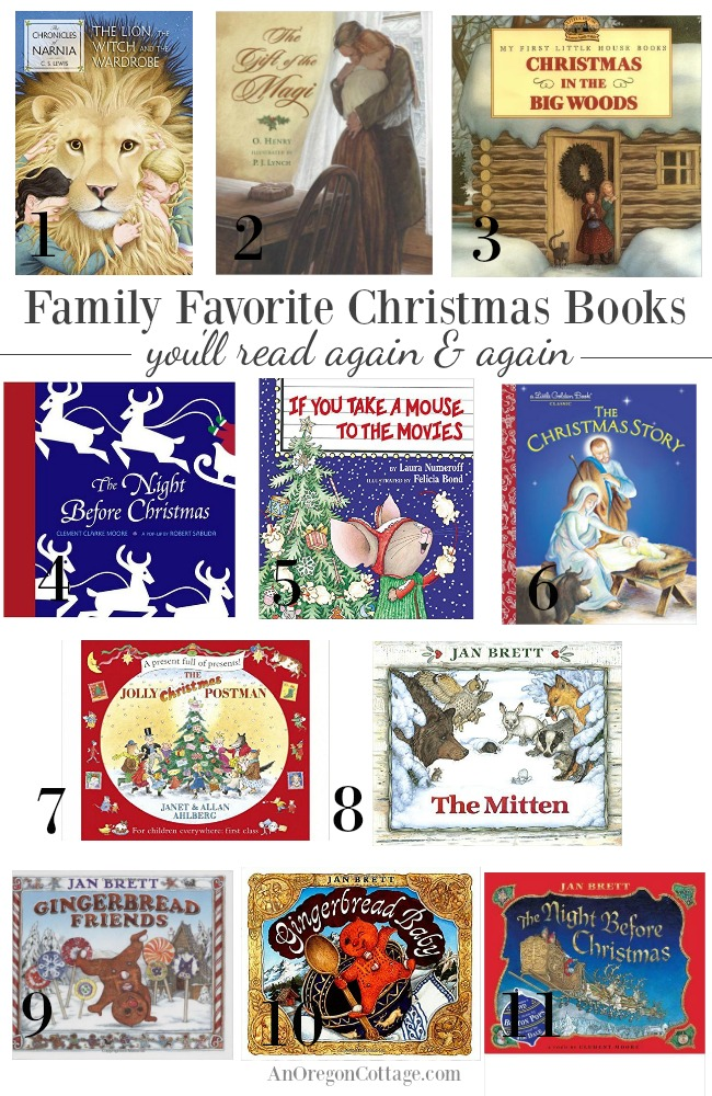 Family Favorite Christmas books you'll read again and again. AnOregonCottage.com